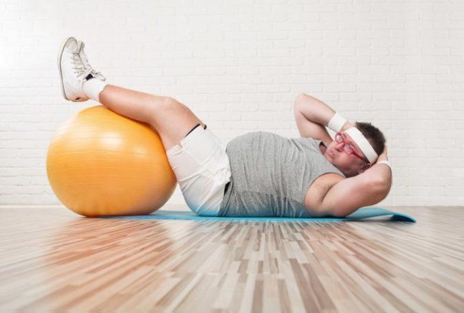 Übergewichtiger macht Sport
